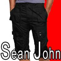 MEN'S SEAN JOHN CLASSIC FLIGHT CARGO SHORTS 100% COTTON BLACK POCKETS BIG TALL