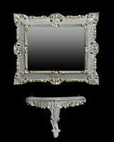 Wall mirror + Console SET BAROQUE Antique 44x38 cm White GOLD 2 NEW