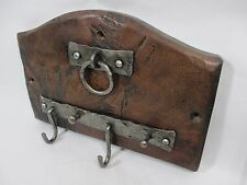 4 Hook Rustic Key Holder Medieval Faux Patina Hammered Steel Wood Wall Mount