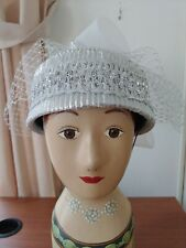 Vintage women's hat silver sparkle with bow and veil