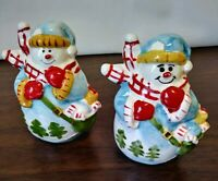 Set of Bright & Cheerful Hand Painted Smiling Snowmen Salt And Pepper Shakers