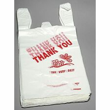 "1000ct Large T-shirts Carry-out Thank You Bags 11.5"" X 6.25"" X 21"" 13 micron"