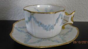 Antique Limoges France  D & C demitasse cup and saucer Gold Gilt