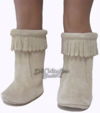 """Beige Genuine Suede Hippy Moccasin Boots for 18"""" American Girl Doll Clothes"""