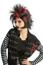 Punk Wig Black Red Hair EMO Rocker Goth Mohawk Spikes Spiky Mens Womens Spiked