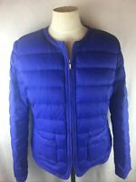 Talbots Women's Size M DOWN Coat Puffer Jacket Blue Insulated Quilted Zip Up