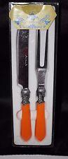 Le Baroque Carving Set Knife Fork Bakelite Orange Handle Cutlery Flatware - NIB