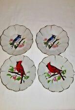 Set of 2--Vintage Porcelain Blue Jay/Cardinal Bird Japan Gold Clamshell Rim