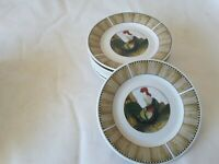 8 Oneida Salad / Lunch Plates - On The Farm, Casual Settings Rooster Brown 7""