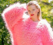Pink hand knitted mohair sweater fuzzy slouchy soft dress SUPERTANYA L XL XXL