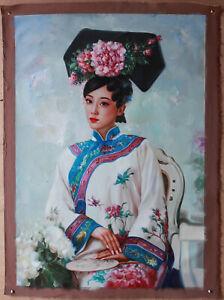 """Fine art unique/original oil on canvas Qing Dynasty court princess lady 24""""X32"""""""