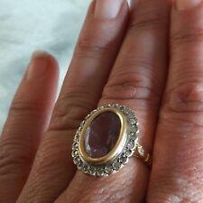 Grosse bague ancienne or 18 carats, améthyste et diamants. Superbe!