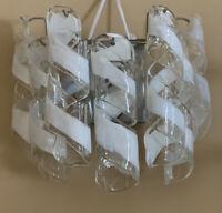 PAIR VINTAGE MURANO Spiral Ribbon Tube Wall Sconces Chrome Art Glass