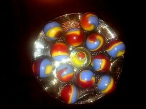 #333  Vintage Akro Agate (12 Shooter Marbles) Superman's