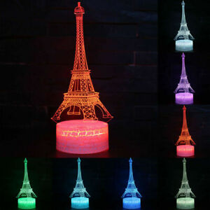 Eiffel Tower LED Night Light Multi Color Changing Lamps Table Bedroom Kids Gift
