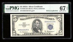 DBR 1953-A $5 Silver Superb Gem Fr. 1656 DA Block PMG 67 EPQ Serial D55142115A