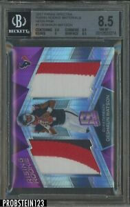 2017 Spectra Neon Pink Prizm Deshaun Watson RC Rookie Dual Patch /15 BGS 8.5