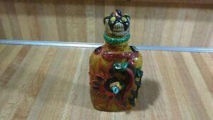 Belize Decorative Glass Flask LIquor Bottle,lizard,flowers,detailed,vg!