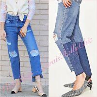 Zara Mid Rise Blue Frayed Hem Ribbed Straight Crop Jeans UK 8 US 6 Blogger ❤