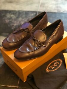 Men's Tods Brown Leather Loafers, UK 8.5, Excellent Condition