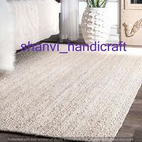 White Natural Handmade Indian Braided Rectangle Area Rug Jute Yoga Floor Rug Mat