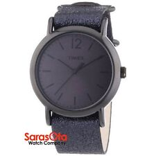 Timex T2P337 WR30M Metallic Black Leather Strap Steel Case Dress Women's Watch