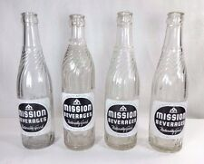 Set (4) Vintage MISSION BEVERAGES 12 oz. Bottles - Denver, CO