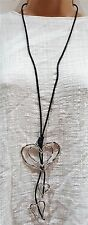 New Ladies Lagenlook Triple Heart Pendant Necklace Silver Long Abstract design