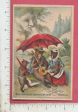9353 Neptune Umbrella trade card anthropomorphic bear playing banjo