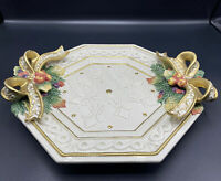 Nice Fitz & Floyd Snowy Woods Platter Christmas Tray Gold Holly Bow Octagon