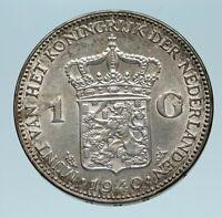 1940 Netherlands Kingdom w Queen WILHELMINA Silver 1 Gulden Coin i83203