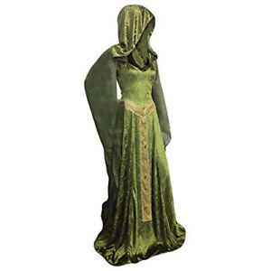 Womens Renaissance Gown Costume 2XL Plus Size Medieval Dress Green Hooded