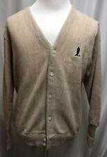 Men's Vintage Penguin Sport Golf Theme Button Front Acrylic Sweater Medium