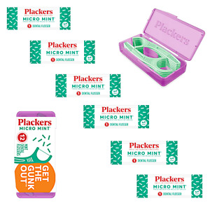 Plackers Dental Flossers Micro Mint Picks 12-pc in Handy Travel Case