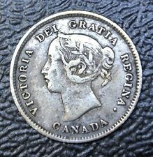 OLD CANADIAN COIN 1874 H - 5 CENTS-.925 SILVER-Victoria-CROSSLET 4 -Nice DETAILS