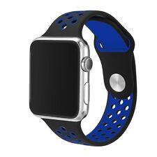 Caoutchouc Silicone Bracelet Lanière Pour Apple i-Watch Taille 38mm Noir Bleu