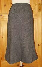 HOBBS black grey tweed fleck WOOL midi knee fishtail pencil winter skirt 12 40