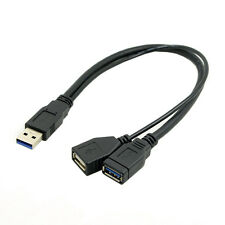Black USB 3.0 Male to Dual USB Female Extra Power Data Y Extension Cable