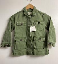 NWT ZARA KIDS Girl's Olive Army Green Barn Coat Jacket  size 6