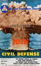 1952 Bikini Atoll Join Civil Defense 12x18 Affiche Nuclear Bombe Mushroom Cloud