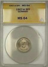 1907-A Germany 5PF Five Pfennings Coin ANACS MS-64