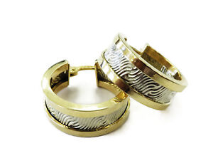 14k Two Tone Gold Diamond Cut Unique Design Ladies Hoop Earrings ~ 4.2g
