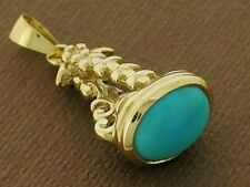 P014 Genuine 9ct SOLID Yellow GOLD Natural Turquoise FOB or PENDANT Vintage styl