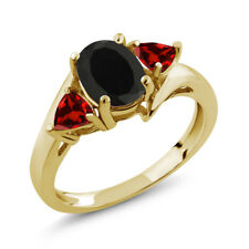 1.93 Ct Oval Black Onyx Red Garnet 18K Yellow Gold Plated Silver Ring
