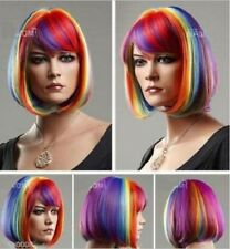 Women short BOB Multicolor Rainbow Straight Red Yellow Blue Mixed Cosplay Wigs