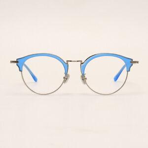 Round Browline Glasses for Women Girls Acetate Titanium Mixed Frame Cute Fashion