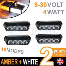 4 x 4 LED Warning Phare Blanc + ambré Secours clignotant 12V/24v Poids Lourds