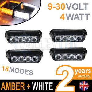 4 x 4 LED Warning Beacon WHITE + AMBER Recovery Strobe 12v / 24v HGV Van Hazard