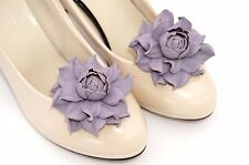 GENUINE LEATHER lavender roses shoe clips Pumps flowers wedding shoe decoration