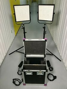 2 X Cinelight 1x1 LED Panel Lights - Dimmable Bi-Colour & FLIGHTCASE - NO STANDS